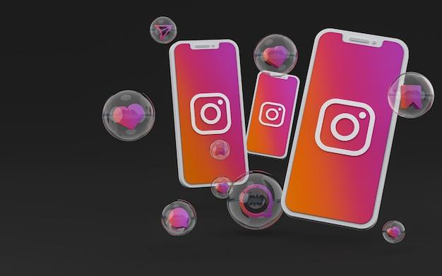 Icona di instagram sullo schermo dello smartphone o del cellulare e le reazioni di instagram amano il rendering 3d 3