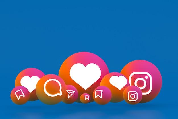 Icona di instagram imposta il rendering 3d su sfondo blu