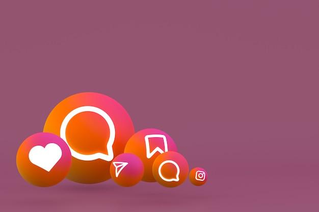 Icona di instagram imposta il rendering 3d su sfondo marrone