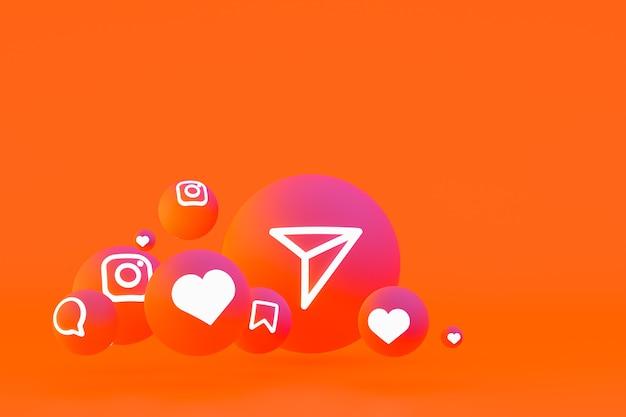 Icona di instagram imposta il rendering 3d su sfondo arancione