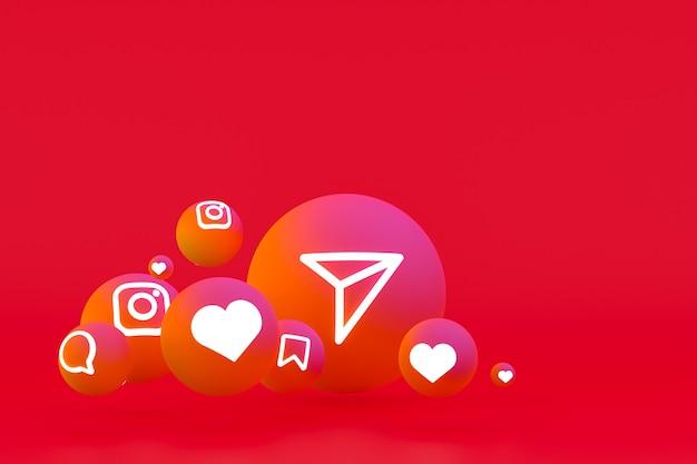 Icona di instagram imposta il rendering 3d su sfondo rosso
