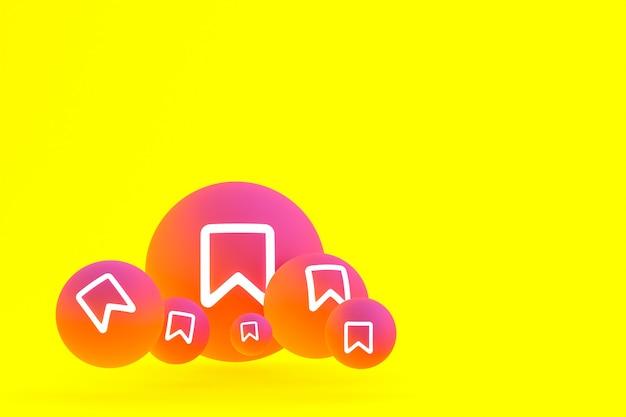 Icona di instagram imposta il rendering 3d su sfondo giallo