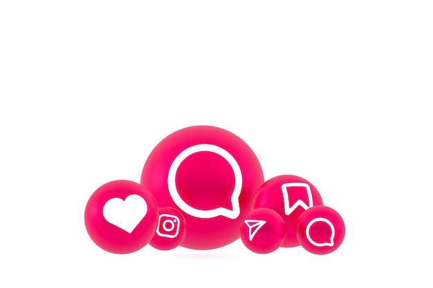 Icona di instagram imposta il rendering su sfondo bianco