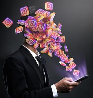 Icone di instagram che spuntano in faccia a un uomo