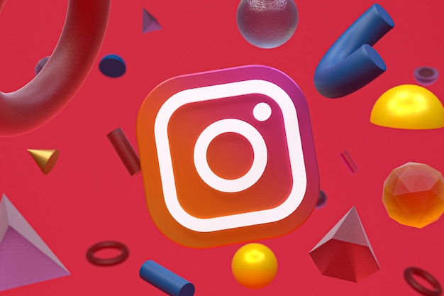 Logo di instagram su sfondo di geometria astratta