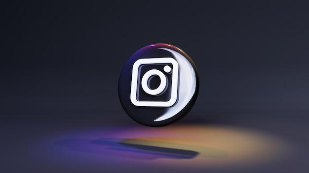 Icona del pulsante logo instagram 3d sfondo scuro con luci e spazio di copia. rendering 3d