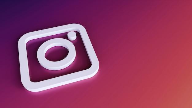 Icona del pulsante logo instagram 3d con lo spazio della copia. rendering 3d