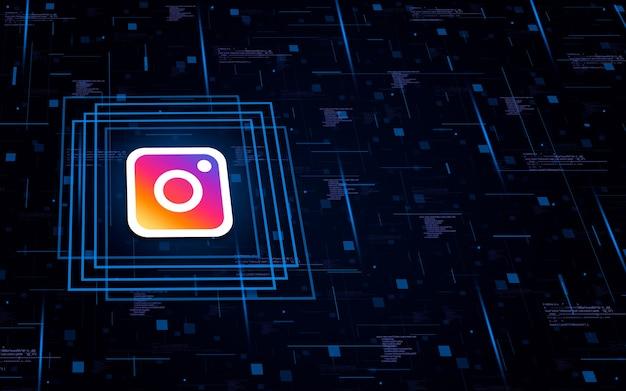 Icona con il logo di instagram su background tecnologico con elementi di codice
