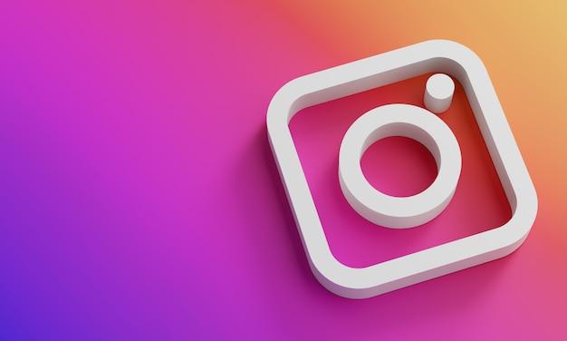 Modello minimo di progettazione minima di logo di instagram. copia space 3d
