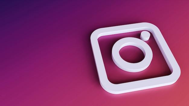 Instagram logo minimal design semplice modello. copia spazio 3d