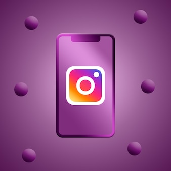 Logo di instagram sul rendering 3d dello schermo del telefono