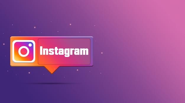Logo di instagram sulla bolla di discorso 3d