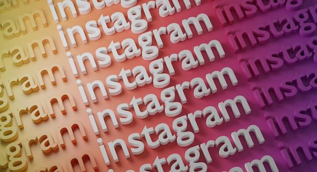 Tipografia multipla di instagram sulla parete colorata