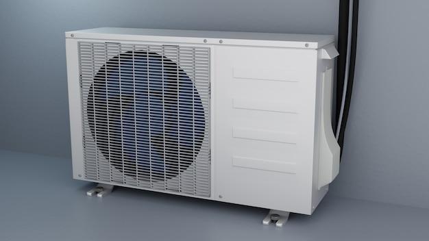 Unità esterna installata del condizionatore d'aria 3d render