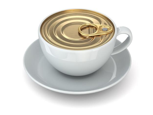 Concetto di caffè istantaneo tazza e tappo di lattina 3d