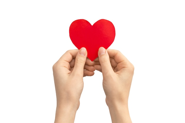 Concetto di assicurazione. mano che tiene cuore rosso isolato su uno sfondo bianco. copia spazio foto