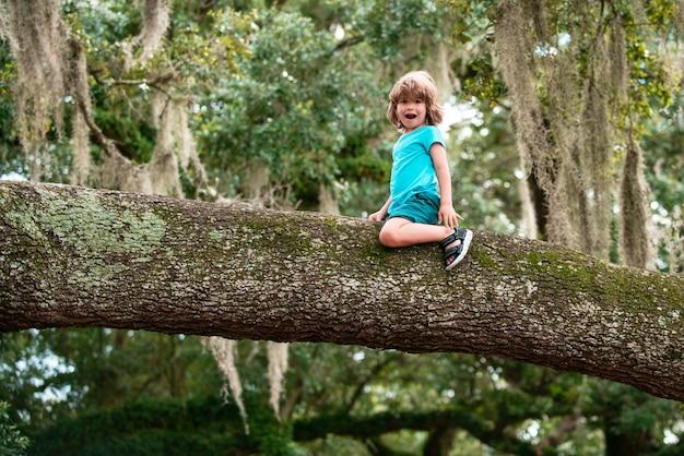 Assicurazione bambini bambino seduto sul ramo di un albero carino bambini ragazzo che si arrampica sull'albero