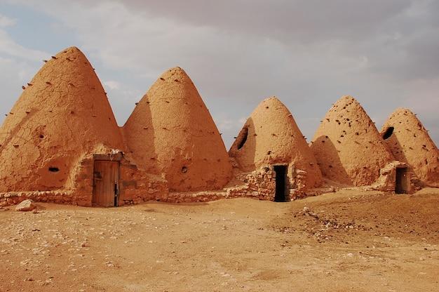 Interessante architettura di case di alveari nel deserto di sarouj, hama, siria
