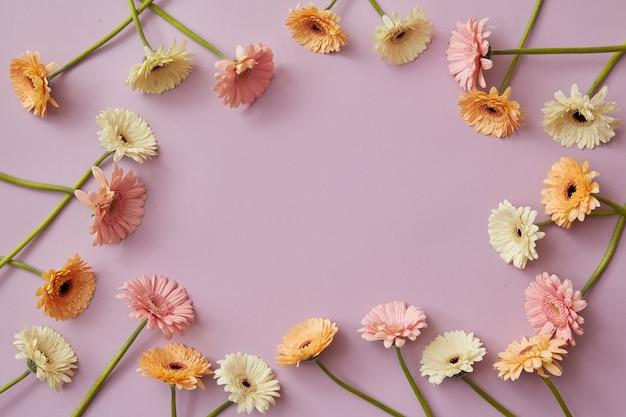 Interessante cornice di gerbere multicolori con spazio copia per una cartolina subliminale per le vacanze primaverili