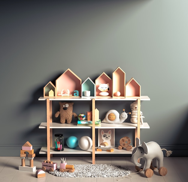 Sfondo interno mock up nella stanza dei bambini con mobili in legno naturale