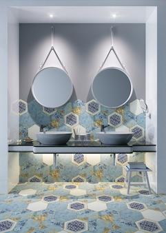 Interno di un bagno con design a pavimento e parete