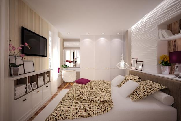 Camera da letto interna in stile moderno. interior design
