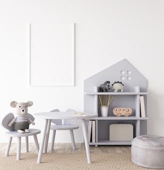 Mockup di camera per bambini interni con mobili unisex grigi