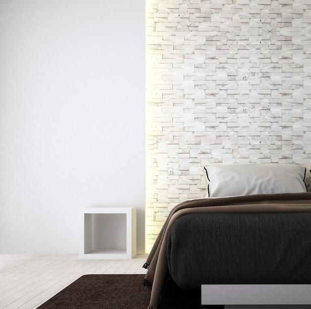 Il design degli interni della camera da letto decorativa e minimale e dello sfondo del muro di mattoni
