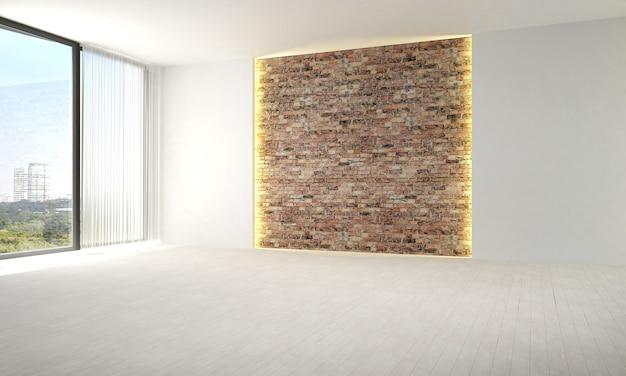 Il design degli interni del salotto vuoto e del soggiorno e dello sfondo del muro di mattoni e della vista sul mare