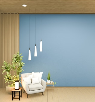 Il design degli interni ha una poltrona sul design giapponese della stanza blu vuota, rendering 3d