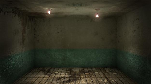 Il design degli interni della stanza vuota di danni horror e raccapriccianti, rendering 3d.