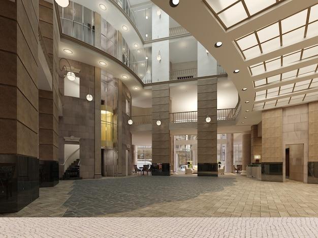 Il design degli interni della hall dell'hotel con un ampio spazio interno a più piani. colonne in pietra, balconi e ascensori interpiano. rendering 3d.