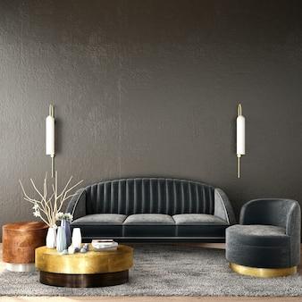 Interior design per zona giorno in stile art déco
