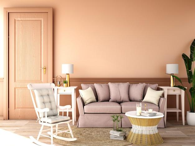 Interior design per zona giorno in stile classico
