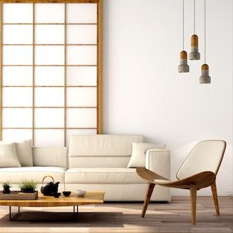 Interior design per zona giorno in stile giapponese