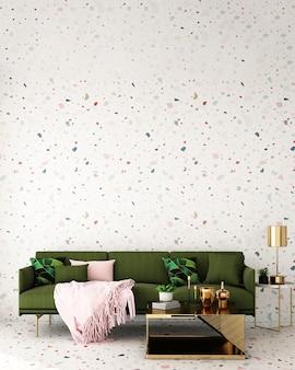 Interior design per zona giorno in stile moderno