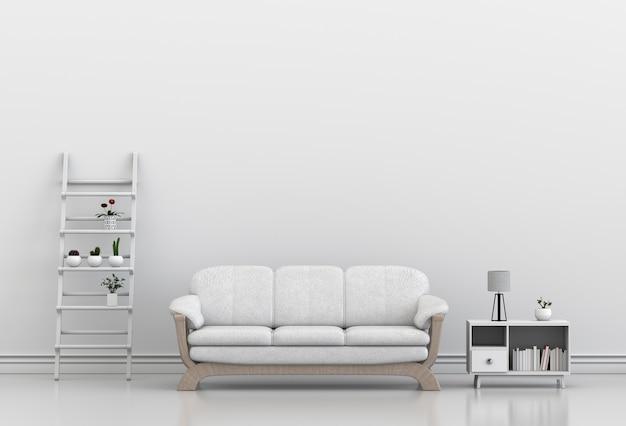 Interior design per zona giorno o reception con divano, pianta. rendering 3d
