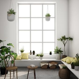 Interior design per zona giorno in stile scandinavo