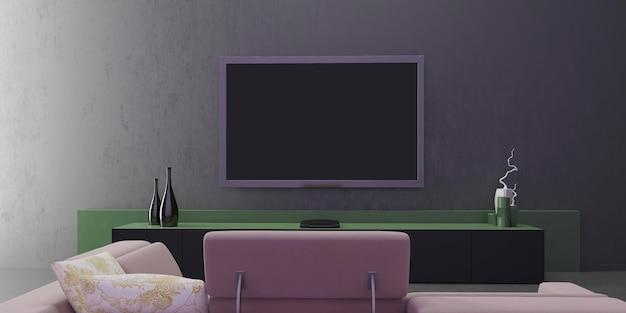 Interior design di soggiorno, muro grigio classico e verde, mobile tv moderno e minimalista, design minimale, vasi decorativi, vista frontale con cornice mock up poster verticale. 3d'illustrazione.