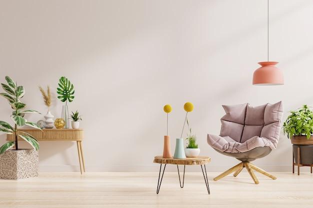 Interior design del soggiorno in una casa moderna con poltrona su sfondo bianco chiaro vuoto della parete. rendering 3d