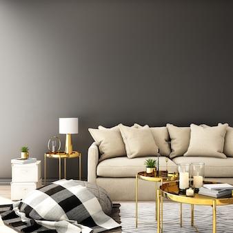 Interior design per soggiorno in stile moderno