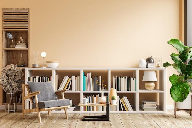 Interior design del soggiorno con poltrona su parete vuota color crema chiaro, sala biblioteca. rendering 3d