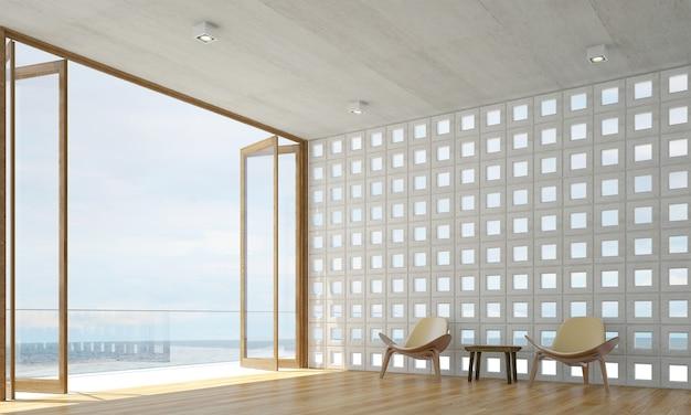 Il design degli interni del salotto decorativo e dello sfondo del muro di cemento e della vista sul mare
