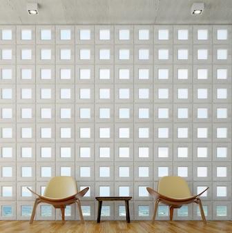 Il design degli interni del salotto e del soggiorno e lo sfondo del muro con motivo in cemento e la vista sul mare