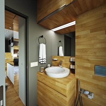 Interior design. soggiorno moderno con bagno