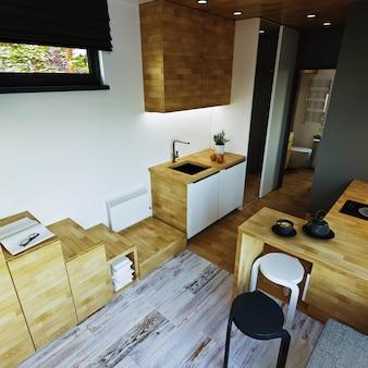 Interior design. soggiorno moderno con disimpegno e cucina-pranzo