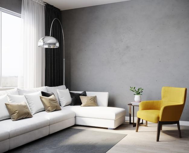 Interior design di moderno appartamento scandinavo con divano bianco e poltrona gialla, soggiorno rendering 3d