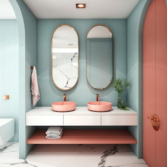 Interior design per bagno in stile contemporaneo