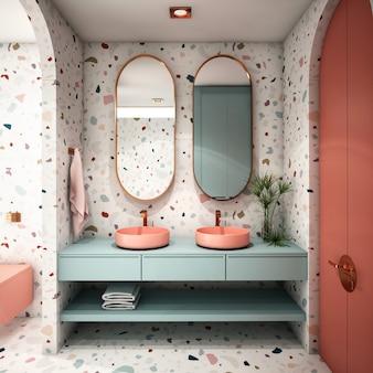 Interior design per bagno in stile moderno