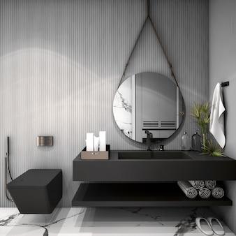 Interior design per bagno in stile scandinavo